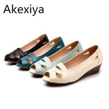 Akexiya frauen sandalen 2017 mode sommer damen schuhe frau echtem leder beiläufige keil sandalen offene spitze plattform sandalen