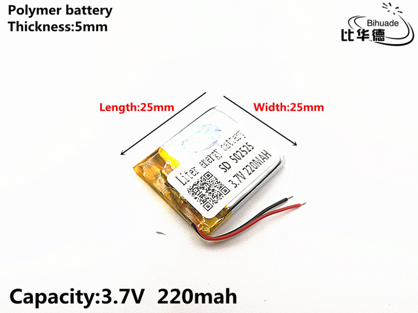 10pcs/lot 3.7V 220mAH <font><b>502525</b></font> Polymer lithium ion / Li-ion Rechargeable battery for DVR,GPS,mp3,mp4 image