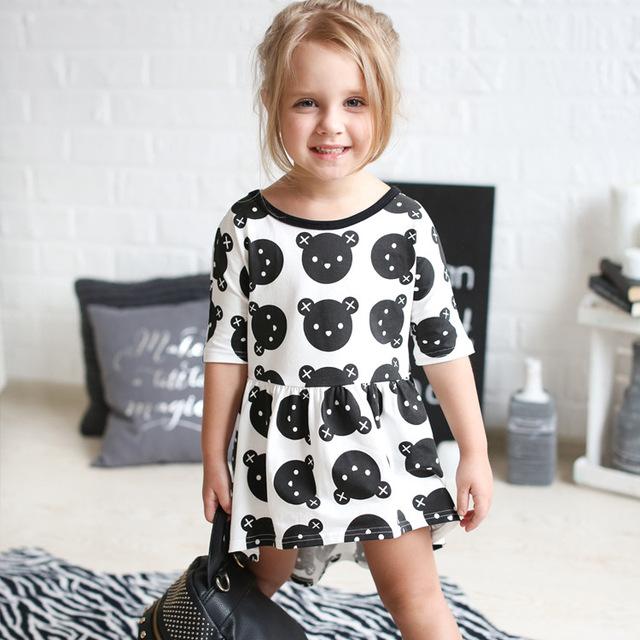 Bébé fille robe d'été enfants noir ours vêtements enfants casual coton dot vêtements princesse filles robes
