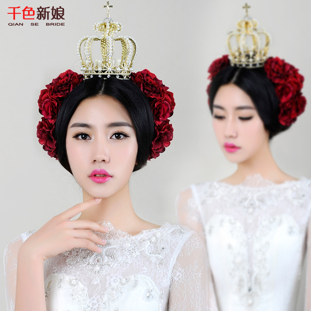 Gold Luxury Bridal Tiara women Crystal Crown Pearl jewelry Bridal hair jewelry Party Wedding Accessories fandigang