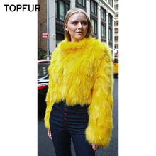 TOPFUR 2019 Colorful Slim Real Fox Fur Jackets Winter Women Coat Short Style Female Whole Skin Natural Coats