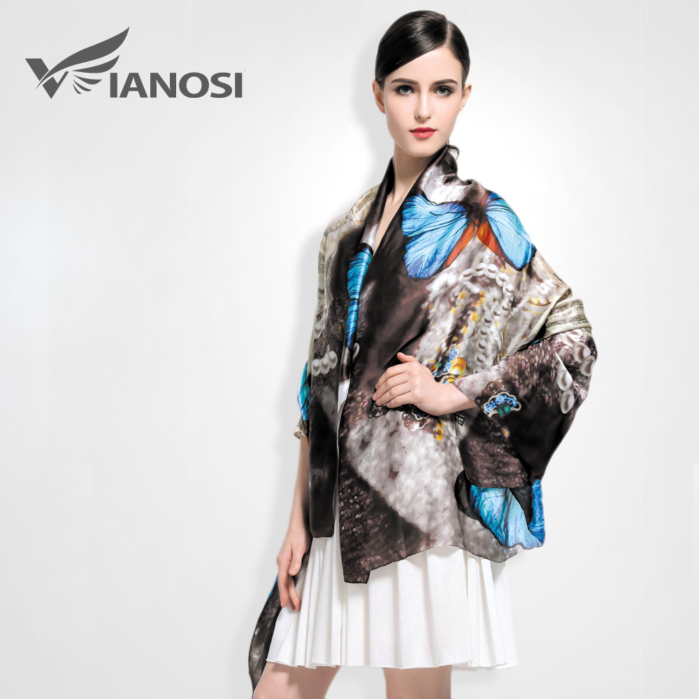 VIANOSI Top Quality Print Silk Scarf Women Soft Shawls and Scarves Butterfly Pattern Fashion Accessories
