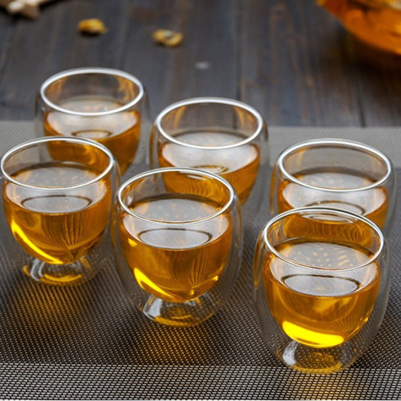 80mlHandmade Heat Resistant Double Wall Glass Tea Drink Cup Insulated Clear Glass Beer Tea Mugs Drinkware Gift