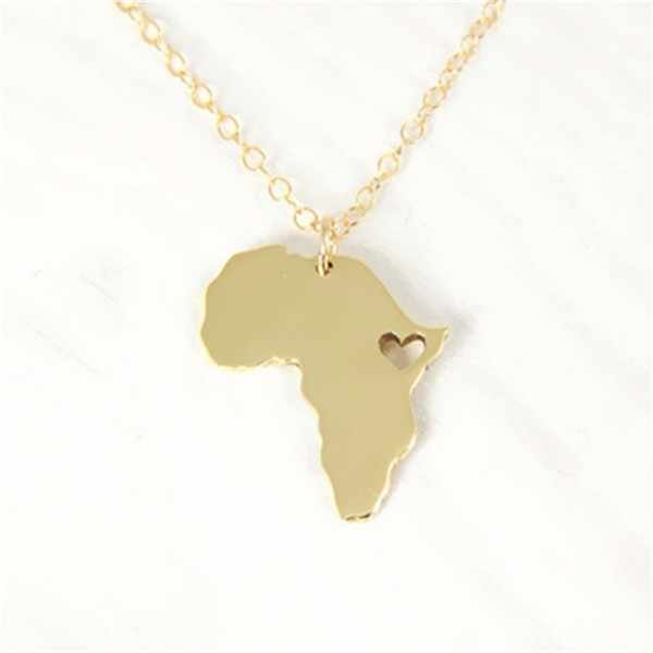 Map Of Africa Outline.1pcs Outline Africa Map Necklace With Heart Country Of South African Map Necklace Silhouettes Ethiopia Ciondolo Necklaces
