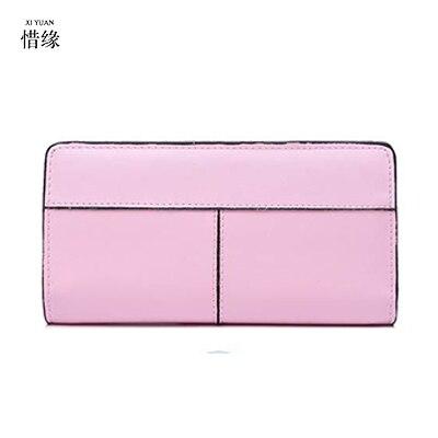 XIYUAN marque femmes portefeuilles noir zipper porte-monnaie femmes portefeuille en cuir véritable marque femme sac à main Promotion porte-carte rose