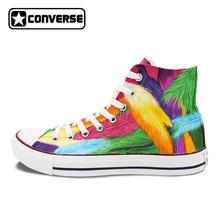 Converse All Star Man Woman Shoes Custom Colorful Feathers Original Design Hand Painted Canvas Shoes Women