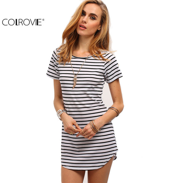 COLROVIE 2016 New Designer Hot Sale Women Round Neck Fashion Black and White Striped Short Sleeve Straight Short Casual Dress