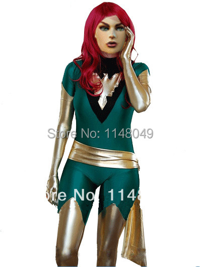 Green Jean Grey Phoenix Spandex X,men Superhero Costume halloween costumes for women(China