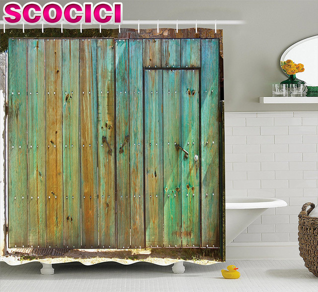 vintage shower curtain rustic old wood gate dated tuscany house entrance with antique texture photo fabric