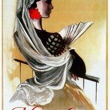 España turismo viajes carteles español clásico señora etiqueta de la pared de lona pinturas decorativo Vintage cartel Bar decoración regalo