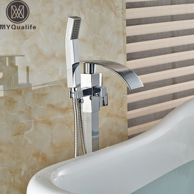 Classic Floor Mount Waterfall Spout Bright Chrome Bathtub Faucet Brass Tub Mixer Taps ABS Handshower