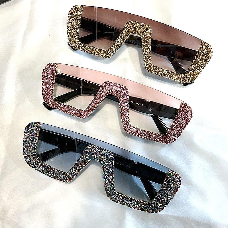147447aca34ef Quadrado Óculos De Sol das mulheres Designer de Marca de Luxo Senhoras  strass Oversized Óculos De Sol Dos Homens óculos Metade de Quadro Para O  Sexo ...