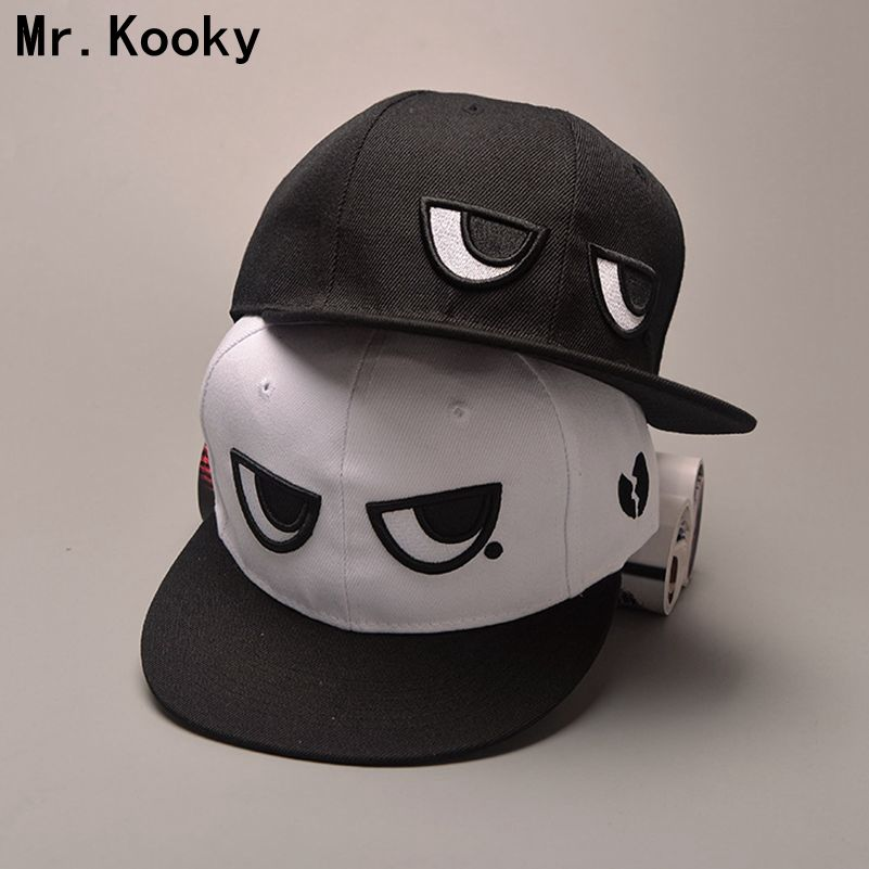 Mr.Kooky New Cute Funny Black and White Eyes Baseball Cap Hip hop Snapback Hat Men Women Lovers Flat-brimmed Sun Hats Adjustable