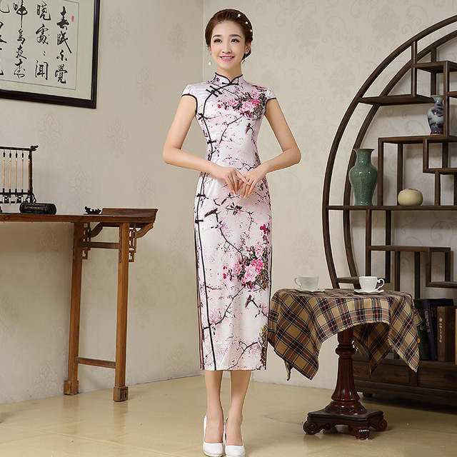 Plus Size Elegant Women Cheongsam Dress Wintersweet Chinese Dress Qipao Lady Sexy Dress Female Cheongsam Free Shipping  16