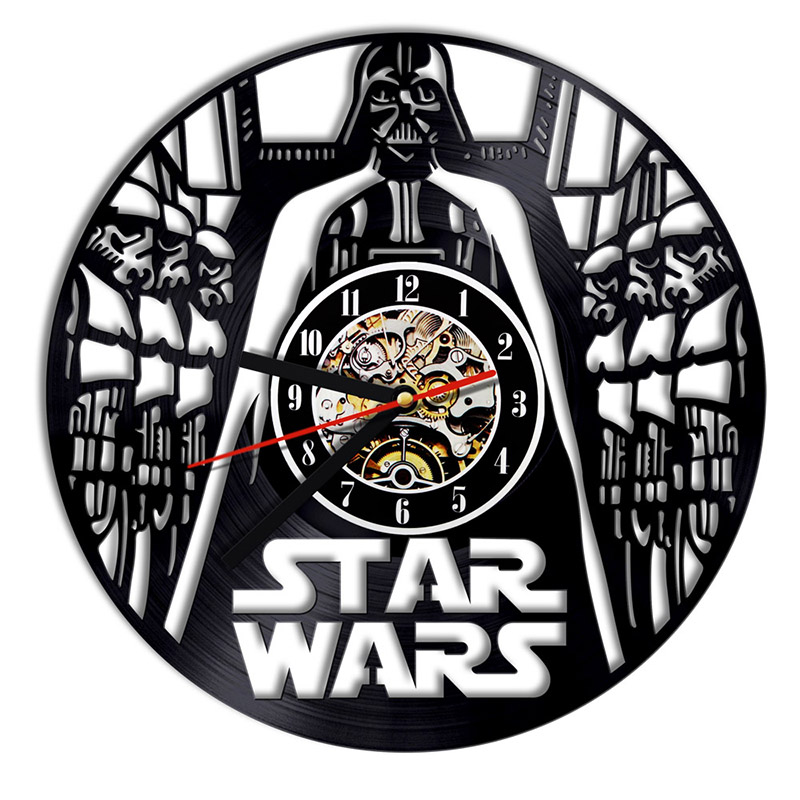 Star Wars Vinyl Record Wall Clock Black Jedi retro Boys Room Decor 6 Designs