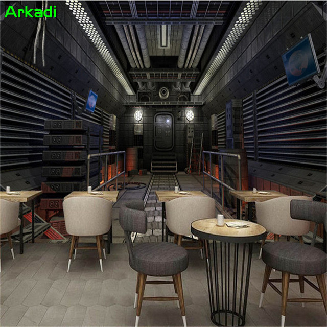 3D Cabin Spacecraft Creative Universe Wallpaper Personal Internet Cafe Cafe  Cinema Game Room Decoration Background Wallpaper