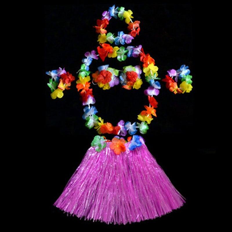 2018 Colorful Hula Wristbands Garland Headband Hawaiian Grass Skirt Bra Scarf Ring Costume for Children Kids Dress Decor Purim