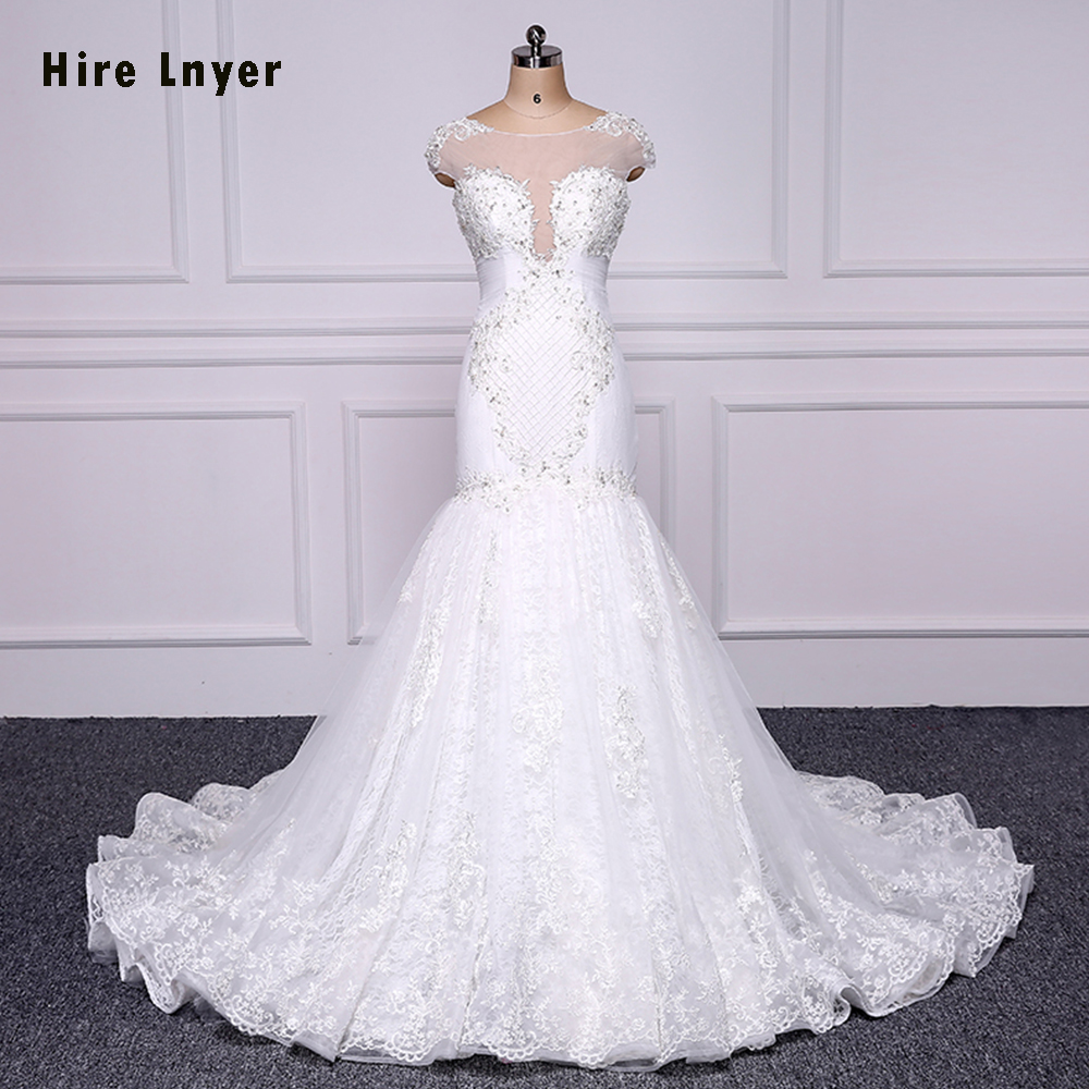 HIRE LNYER 100% Real Picture Lace Bridal Gown 2019 Mariage