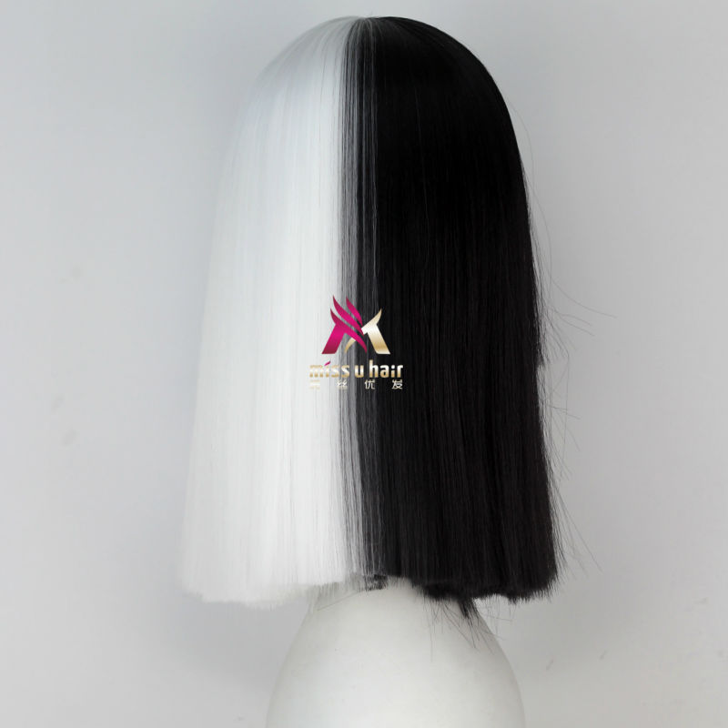 Miss U Hair High Temperature Fiber Half Black Half Blonde White Hair Medium Kinky Straight Cosplay Costume Party Wig For Women Synthetic None-lacewigs Synthetic Wigs
