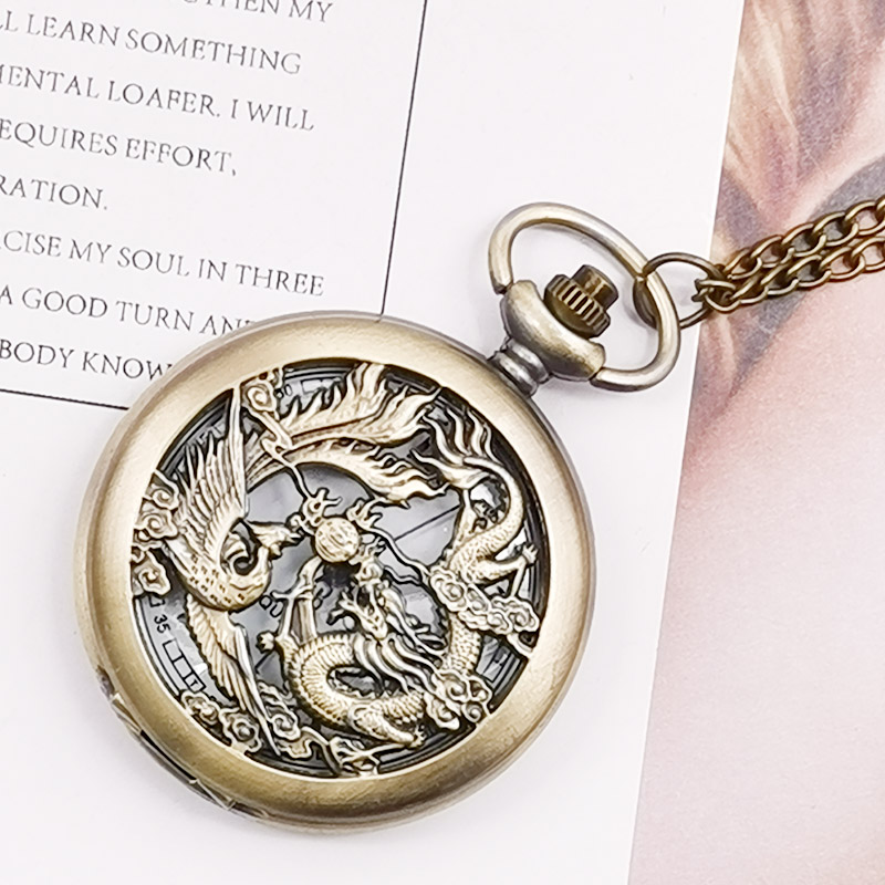 Retro Half Hunter Hollow Dragon & Phoenix Design Pendant Men Women Pocket Watch With Chain Fashion Cool Clock Children Gift