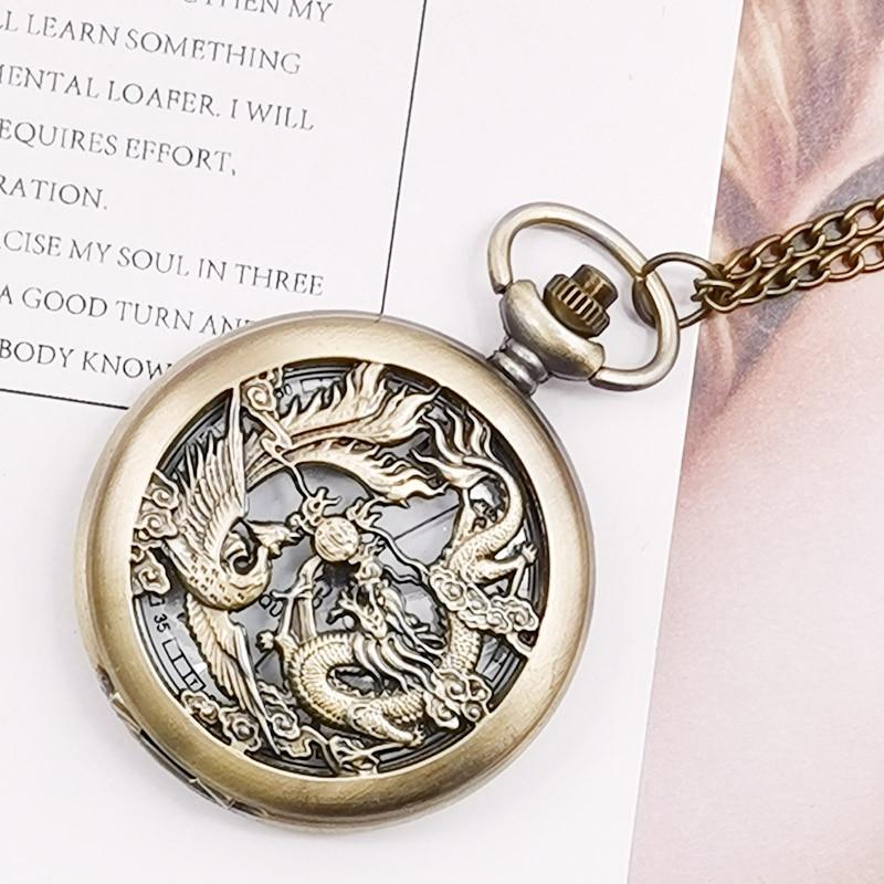 Retro Half Hunter Hollow Dragon & Phoenix Design Pendant Men Women Pocket Watch With Chain Fashion Cool Clock Children Gift