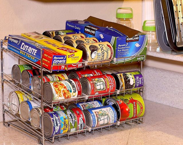 Stackable Can Rack Chrome Pantry Organizer Beverage Dispenser Hold Canned Food