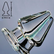 59mm big size pyrex glass anal dildo butt plug large crystal fake penis bead adult female