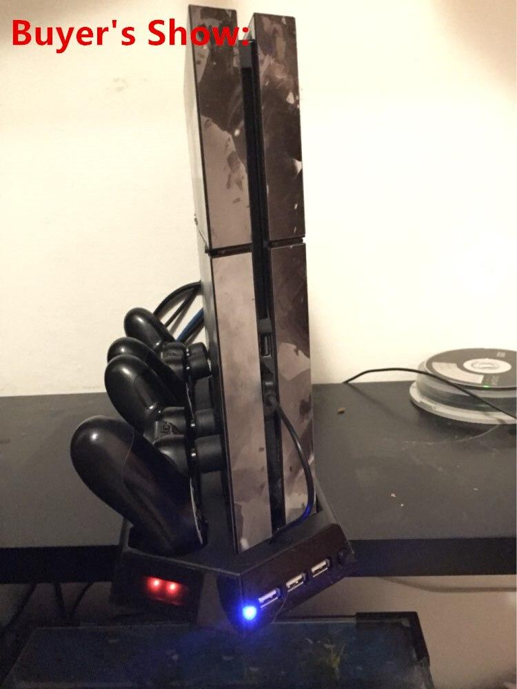 Купить с кэшбэком PS4 Pro Vertical Stand Cooler Cooling Fan Dual Controller Charging Dock Station 3 HUB For PS4 Pro Console Storage Cradle Holder