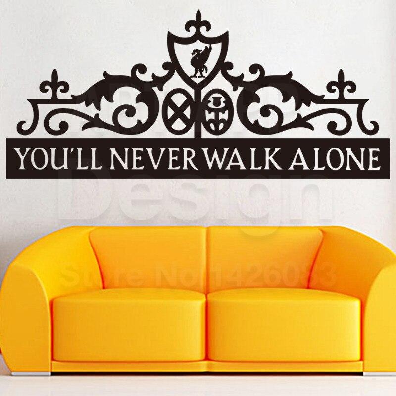 Diseño de arte barato decoración del hogar PVC fútbol logo Never walk alone casa