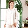 Onesie Pijama Feminino Pijamas Mujer 2017 Mulheres Estilo Floral Conjuntos de Pijama de Manga Longa 100% Algodão Sleepwear Salão Informal 9603