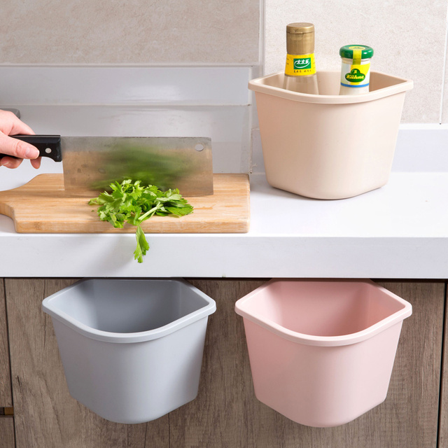 1pc Hanging Trash Bin Cabinet Doors Plastic Storage Box Home Kitchen  Desktop Debris Storage Box