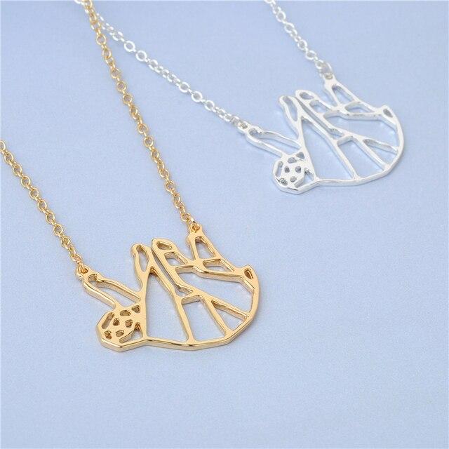 Fashion Origami Sloth Necklace Geometric Jewelry Cute Sloth Pendant