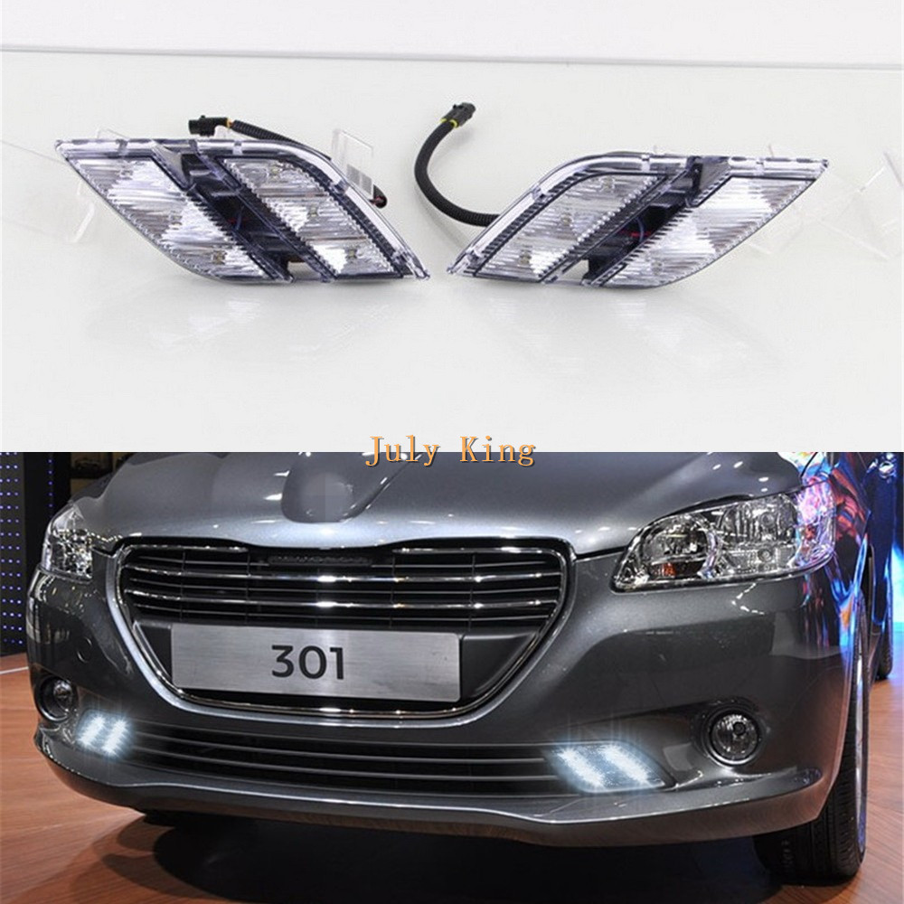 July King 1 Pair LED Daytime Running Lights DRL, LED Front Bumper light, LED Fog Lamp case for Peugeot 301 2013~16 1:1, HA type for opel astra h gtc 2005 15 h11 wiring harness sockets wire connector switch 2 fog lights drl front bumper 5d lens led lamp