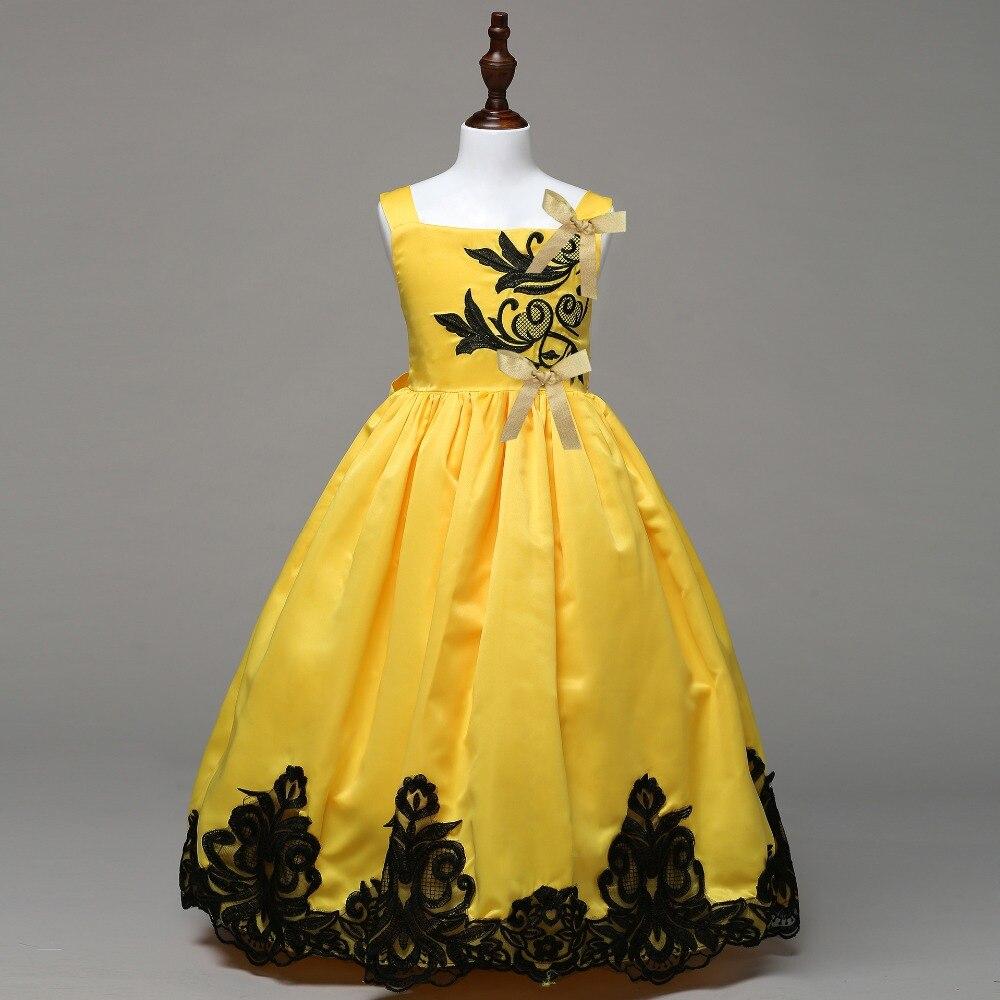 Meninas Cetim Clássico Amarelo Brilhante Vestido de Princesa para a Festa de Casamento 2018 Crianças Roupa Dos Miúdos Bordado de Renda Preta Vestido Fofo