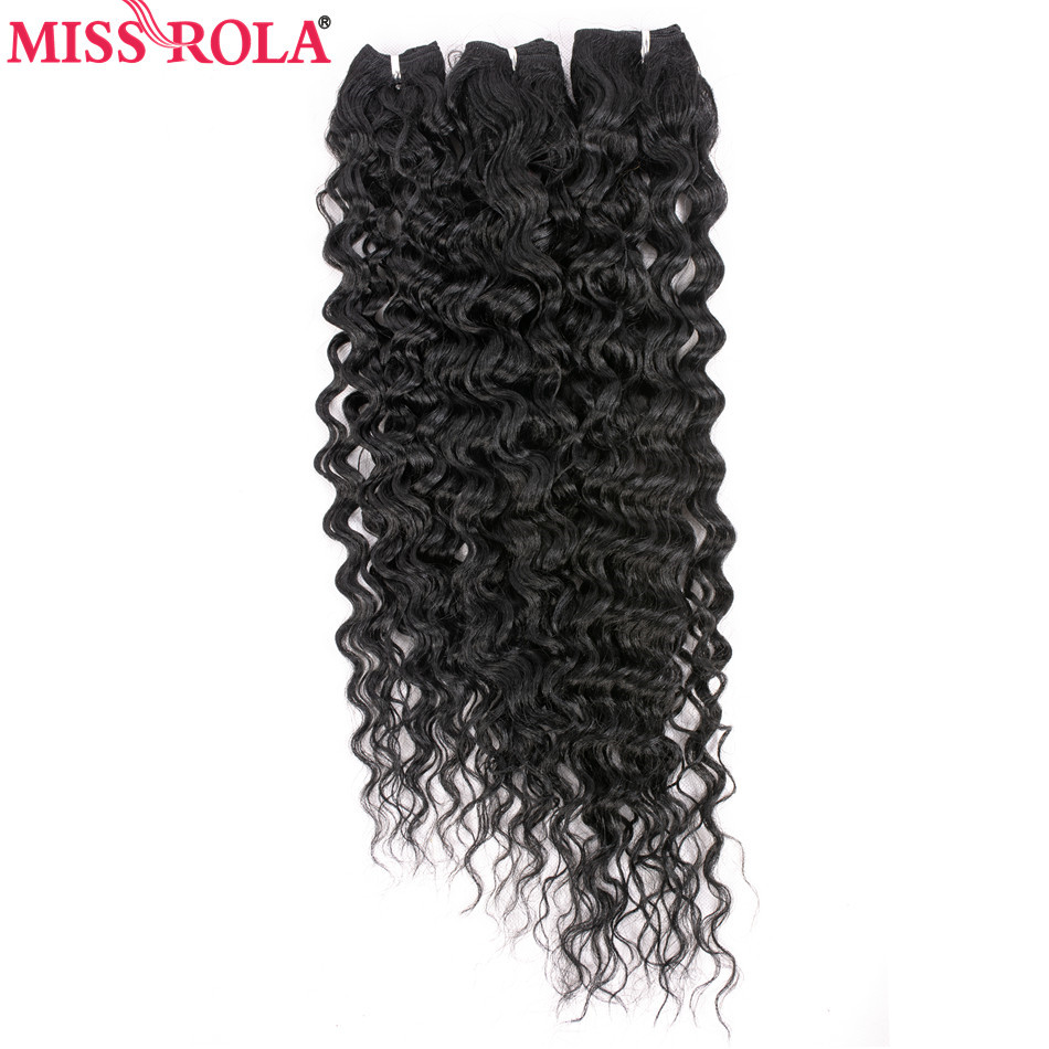 Miss Rola Victoria Curly Synthetic Hair Extensions 18inch Medium Long Length Kanekalon Fiber Weave Bundle 230g #1 Hair Wefts
