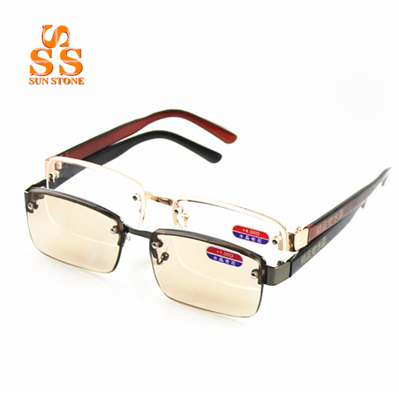 hd brown or clear lenses half square frame reading glasses