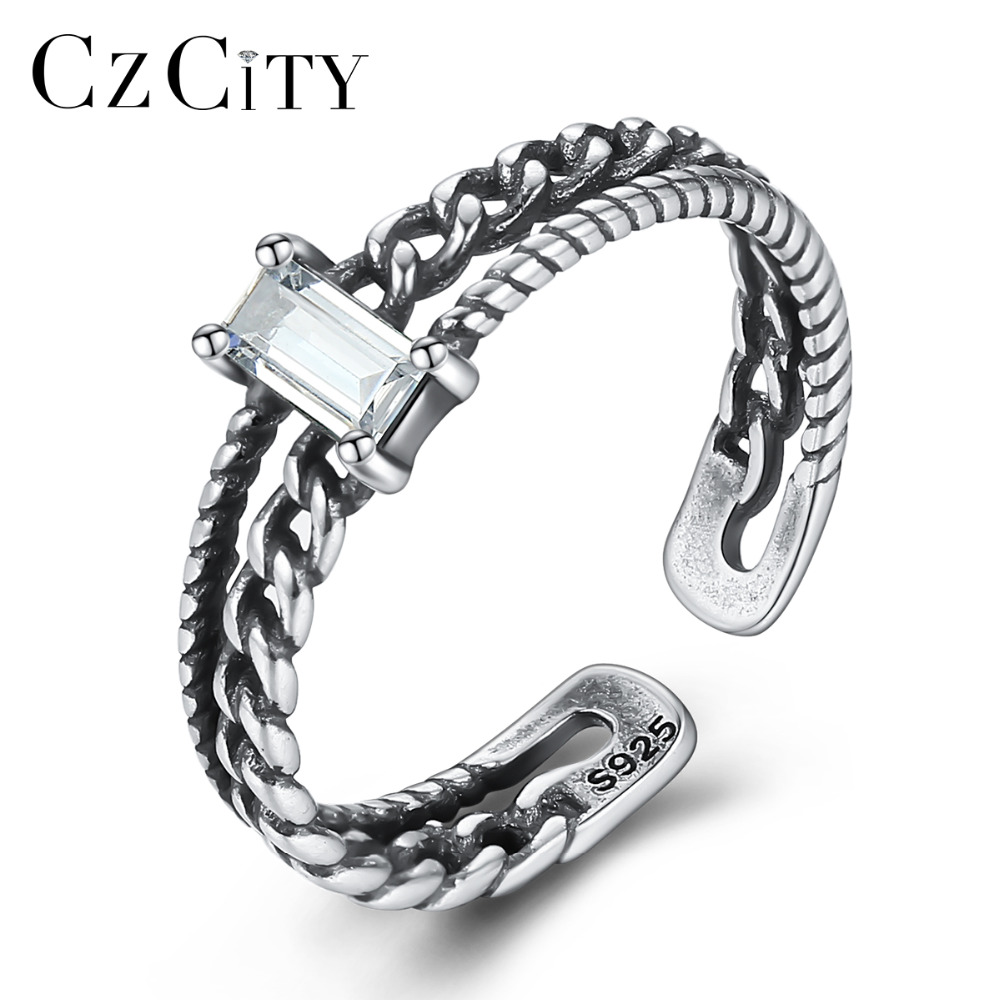 CZCITY Vintage Sterling Silver 925 Open Rings For Women Hollow Design Carving S925 Finger Rings Fine Jewelry Bagues Pour Femme