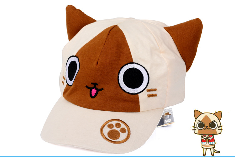 2016 New Hat Monster Hunter Peripherals Airu Cat Pettern Kawaii Lovely Cute Hat Boy And Girl Hat Adjustable Size Ht106 Durable Service