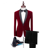 Loldeal 2018 Men's Red Suits For Man clothes 2 Psc Peaked Lapel wedding suit Classic style wedding Tuxedos For Party Suits