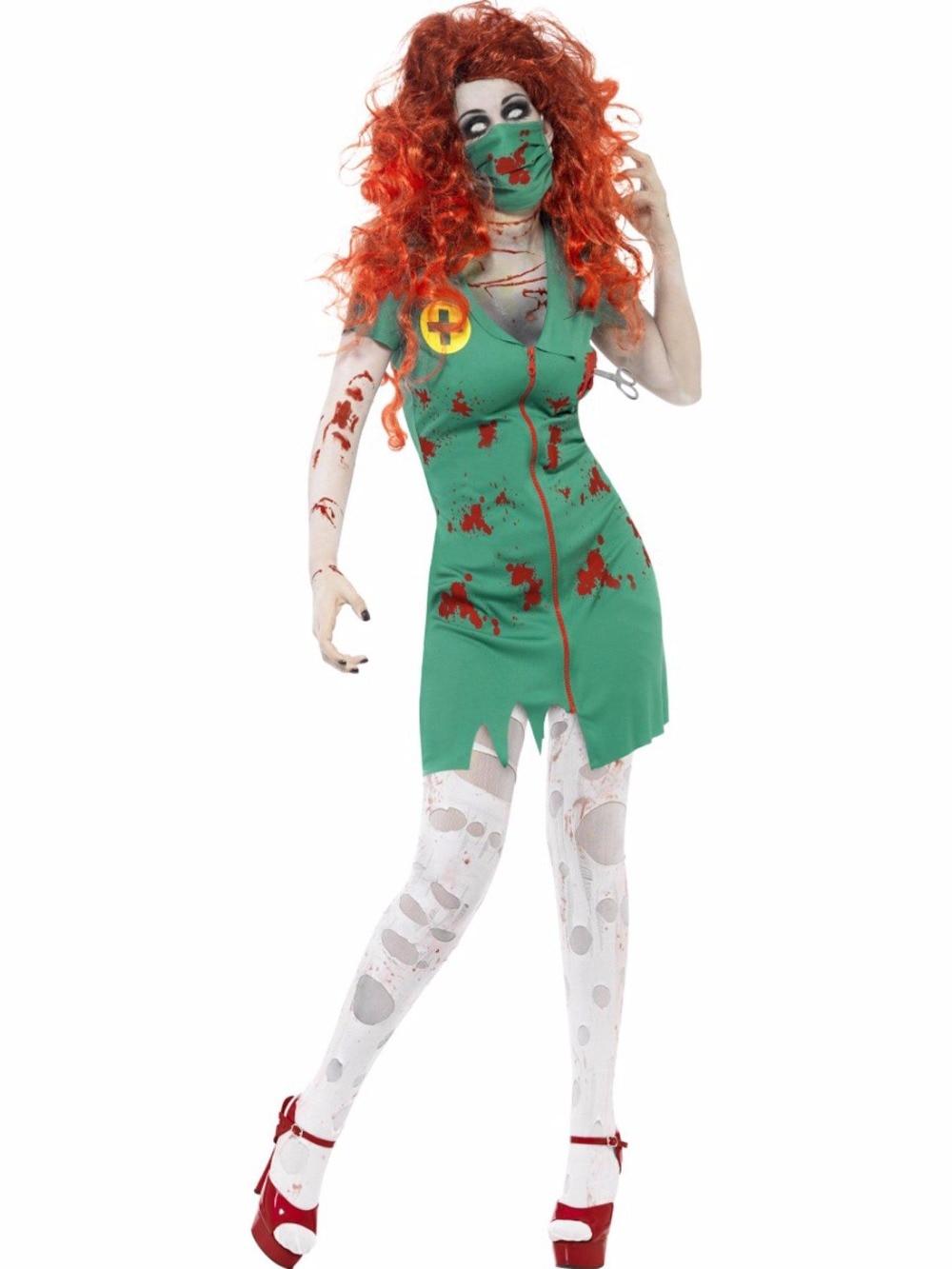 Halloween Blood Terror Zombie Nurse Costumes Sexy Green Walking Dead Cosplay Dress+Mouth-muffle