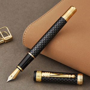 Image 2 - HERO 768 Carbon Fiber Grey Fountain Pen with Golden Clip Iridium Fine Nib 0.5mm Fashion Writing Ink Pen for Office Gift Business