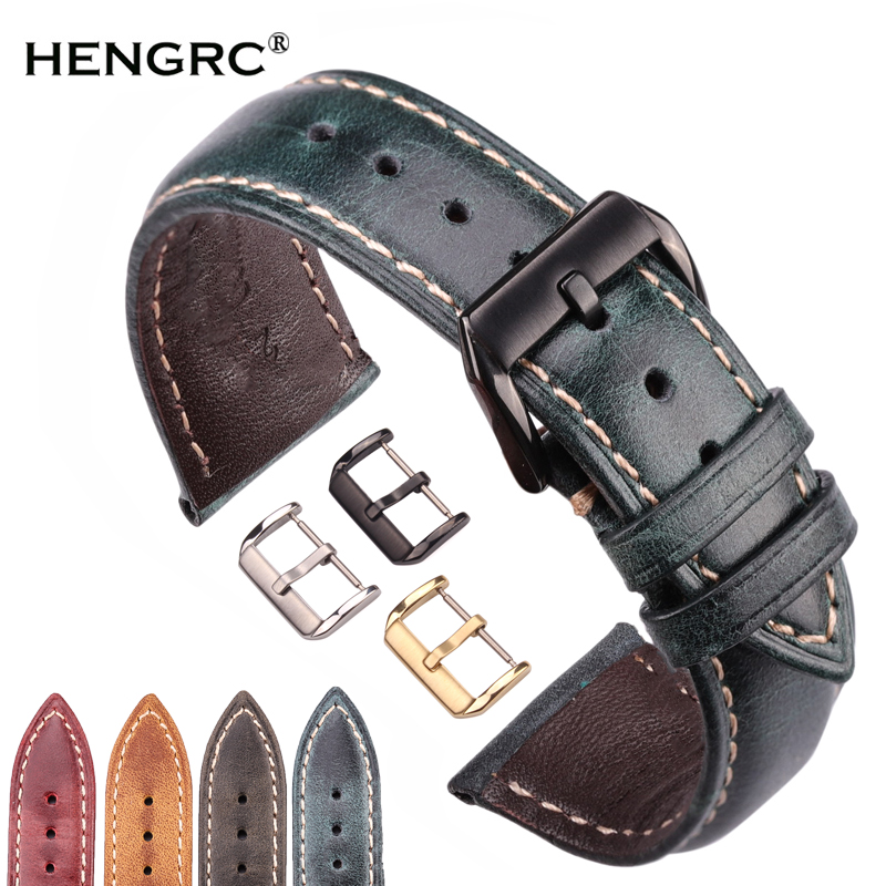Oil Wax Genuine Leather Watchband Women Men Cowhide Watch Strap Band 18mm 20mm 22mm 24mm Clock Bracelet For Watches Metal Clasp
