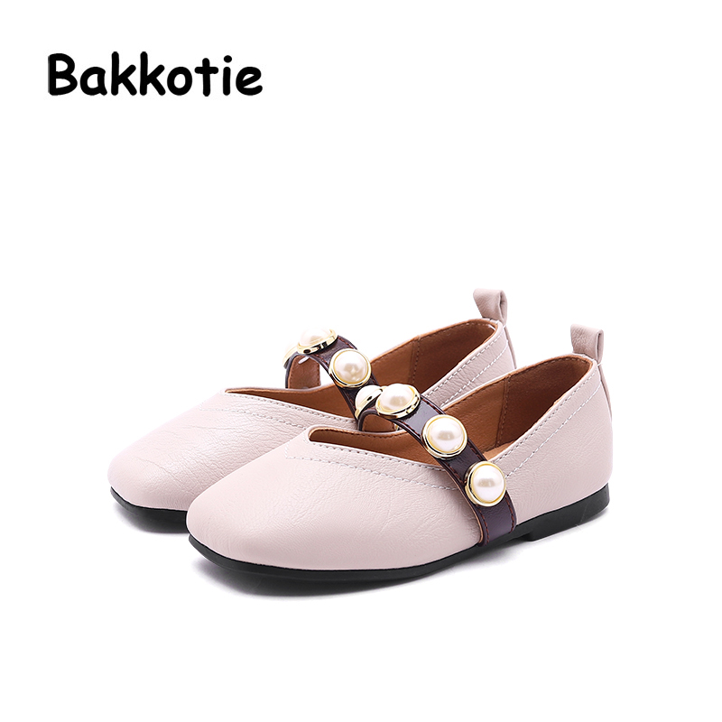 Bakkotie 2018 New Autumn Baby Girl Princess Shoe Children Slip On Square Toe Pearl Kid Brand Flats Black Soft Party Mary Jane