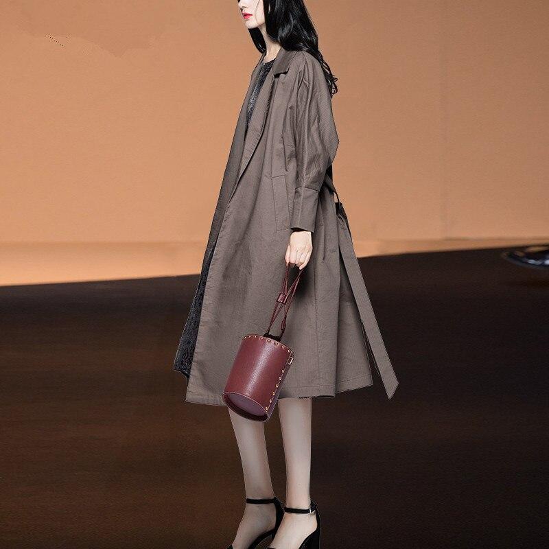 Taille Couture Vêtements Longue De Haute Mince Tranchée Manteau Automne Yq148 Coupe coat Trench Dessus vent Printemps Réglable Gray Dark Pour Femmes 2019 adqwdT8C