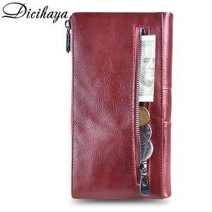 Image 3 - Dicihaya 新しい本革女性財布ジッパーロング女性革電話バッグブランドコイン財布牛革財布カードホルダー