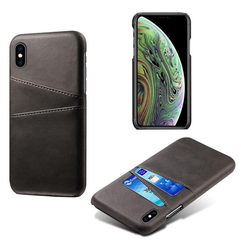 Роскошный держатель для карт чехол для iphone 5, 5S, 6, 6 S, 7, 8 Plus, 5se, кожаный чехол-кошелек для iphone X, XR, XS, Max, 11 Pro, Max, чехол для телефона - Цвет: Black