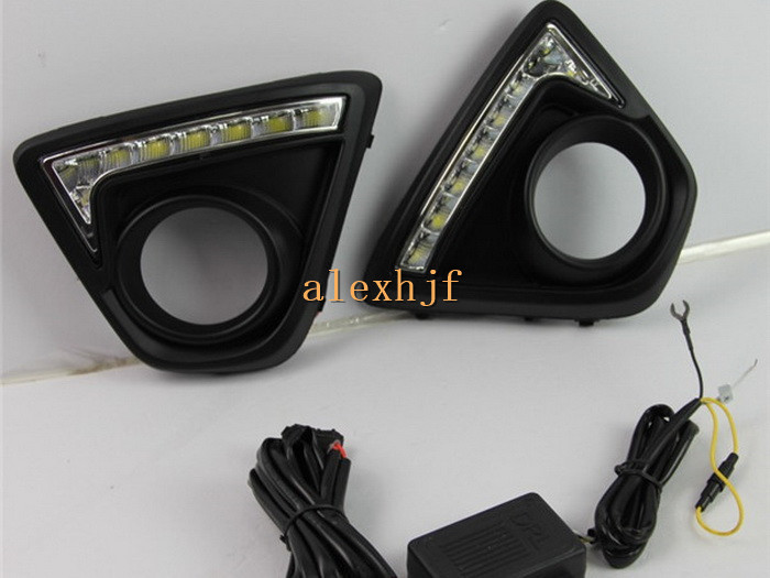 July King LED Daytime Running Lights DRL with Fog Lamp Cover LED Front Bumper Fog Lamp Case for Mazda CX-5 2012~ON (Y-type), 1:1 for opel astra h gtc 2005 15 h11 wiring harness sockets wire connector switch 2 fog lights drl front bumper 5d lens led lamp