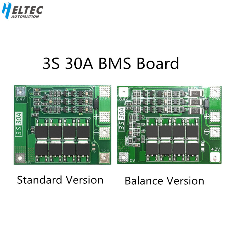 3S 30A BMS Board Balance current  11.1V 12.6V 18650 Lithium Battery Protection Board with equalization Drive drill 30A current