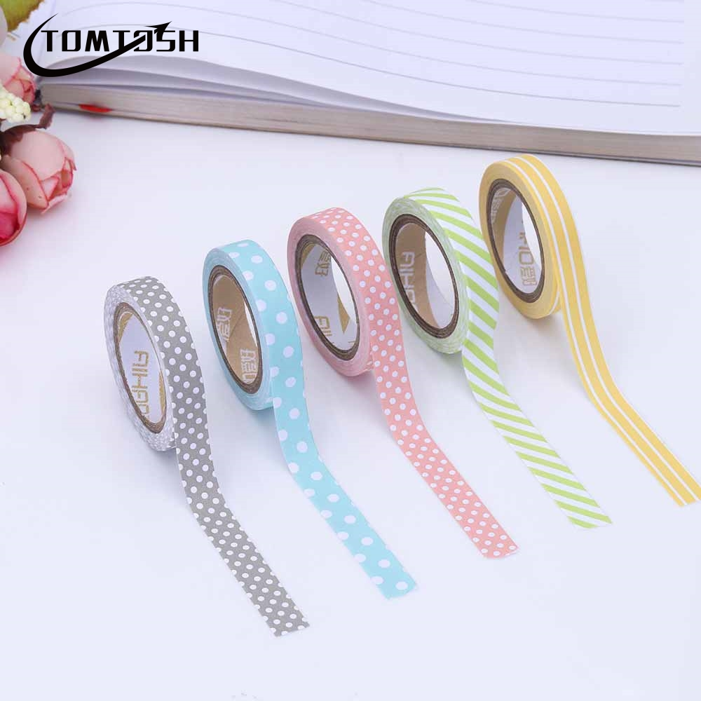 TOMTOSH 5Pieces/Pack Candy Color Rainbow Striped Dots Tape DIY Decorative Tape Color Paper Adhesive Tapes striped tape side pocket skirt