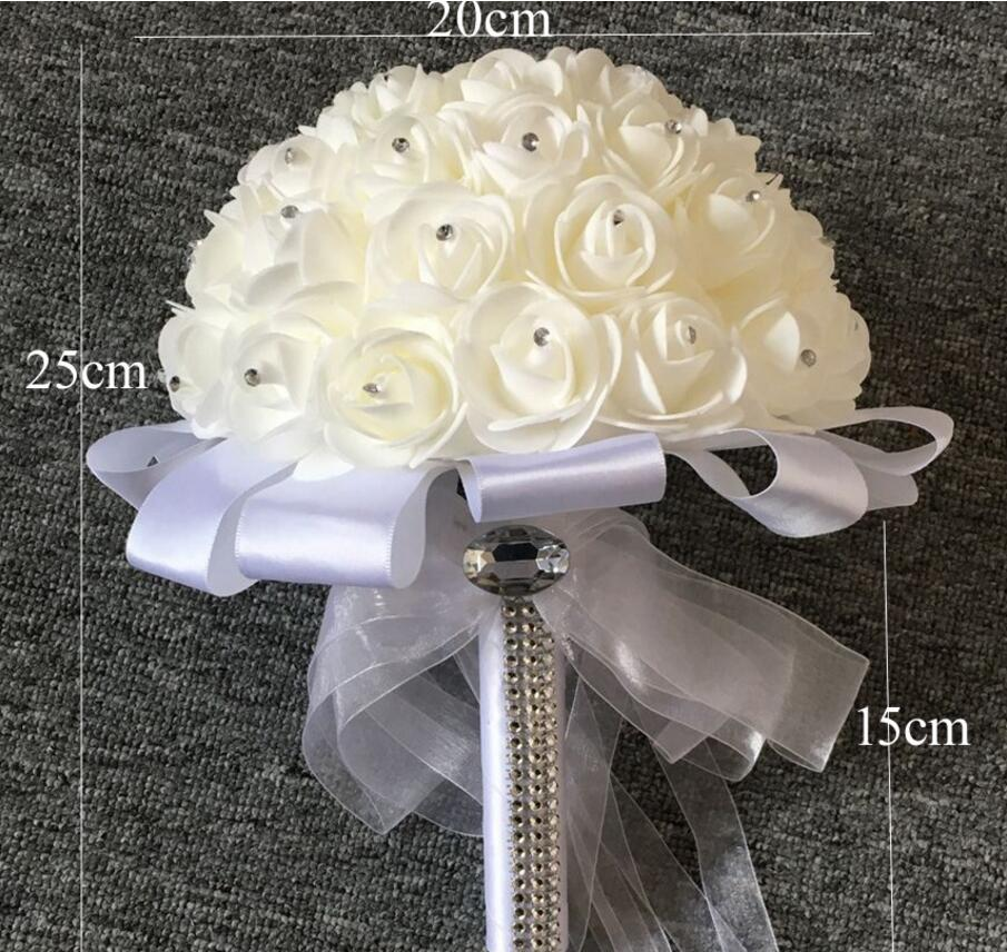 Bridal wedding bouquet with pearl beaded romantic ball bouquet bridal wedding bouquet with pearl beaded romantic ball bouquet foamflowers white ribbon for wedding party venue decoration in artificial dried flowers mightylinksfo